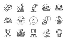 Sports Icons Set. Included Icon As Strong Arm, Arena, Sports Stadium Signs. Reward, Swimming Pool, Cardio Training Symbols. Arena Stadium, Leadership, Winner Reward. Winner Cup Line Icons. Vector