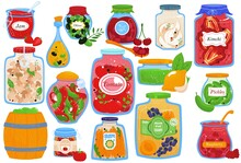 Canned Food, Isolated On White Set, Vector Illustration. Homemade Vegetable Pickles In Jar Collection, Cooking Cucumber, Tomato And Carrot.