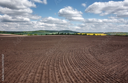 Stampa su Tela Wonderful agriculture plowed field