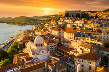 Beautiful Old City Of Sibenik, Aerial View Of The Town Center At Sunset. Croatia.