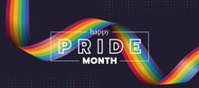 Happy Pride Month Text And Rainbow Pride Ribbon Roll Wave On Circle Dot Texture And Dark Background Vector Design