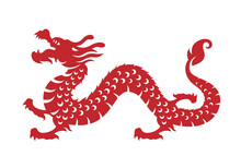 Red Chinese Zodiac Animals Papercutting - China Dragon Vector Design