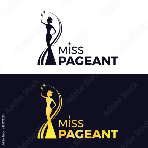 Canvastavla miss pageant logo - black and gold The beauty queen pageant wearing a crown and