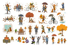 Autumn Fall Thanksgiving Halloween People Outdoor And At Home Cartoon Set, Man Woman Couples Children Walk With Umbrellas, Dogs, In The Park, Ride Bikes, Read Book, Sit On Bench, Lying On Leaves