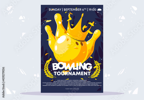 Obraz na plátne Vector illustration of a poster template for a bowling tournament, a golden ball