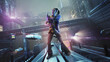 Leinwandbild Motiv Cyberpunk style image , beautiful brunette warrior