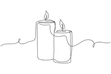 Continuous One Line Of Candles In Silhouette On A White Background. Linear Stylized.Minimalist. Christmas Style