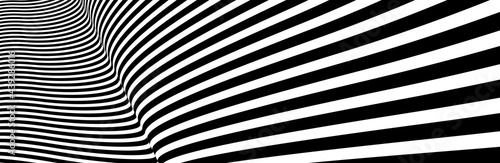 Slika na platnu Op art distorted perspective black and white lines in 3D motion abstract vector background, optical illusion insane linear pattern, artistic psychedelic illustration