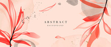 Minimal Floral Background Vector. Abstract Art Wallpaper Design With Tropical Leaves And Watercolor Background Texture. Botanical Banner Design Template For Text.