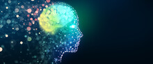 Human Head With A Luminous Brain Network. Digital Brain, Analysis Information, Cyber Mind, Deep And Machine Learning, Consciousness, Artificial Intelligence, Technology Background Concept.