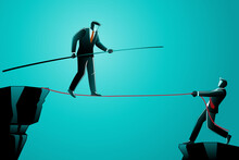 Illustration Business Concept Businessman Walking Rope Assist By His Friend