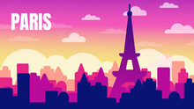 Illustration, Postcard Travel In Paris. France. Eiffel Tower.