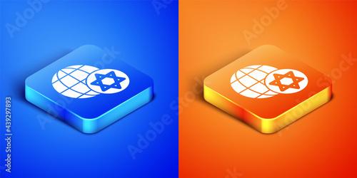 Stampa su Tela Isometric World Globe and Israel icon isolated on blue and orange background