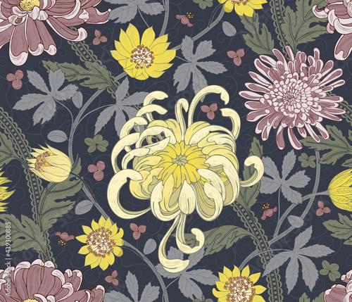 Tapety Angielskie  chryzantema-vintage-wzor-tlo-botaniczne-ruch-sztuki-i-rzemiosla-projektowanie-tkanin-modnych-ubran-tapet-artykulow-papierniczych-papieru-do-pakowania