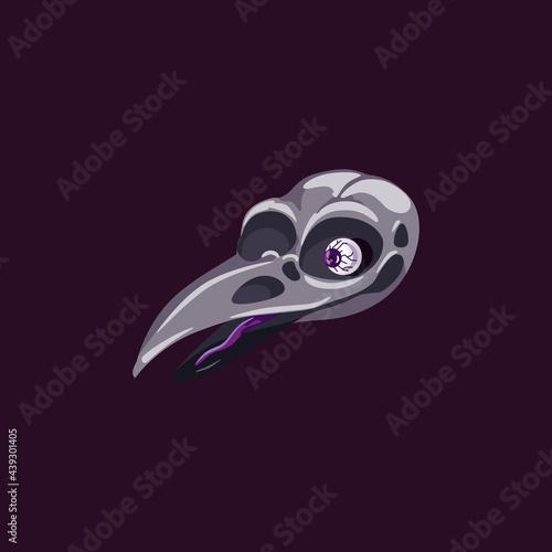 Fototapeta premium Skull of skeleton raven symbol of death on black a vector isolated illustration.