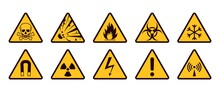 Warning Signs. Realistic Caution Icons. Yellow And Black Stickers Set. Danger Of Radiation Or Electricity. Flammable Or Toxic Material. Vector Symbols With Exclamation Mark And Skull