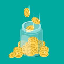 Glass Money Jar Full Of Gold Coins