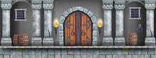 Castle Dungeon Game Background, Vector Cartoon Medieval Prison Interior, Wooden Door, Pillars, Barrel. Basement Room Illustration, Stone Columns, Grated Window, Torch. Castle Dungeon Catacomb Concept