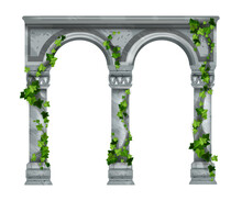 Marble Vector Arch Illustration, Stone Ancient Column Colonnade Isolated On White, Green Ivy Leaves. Greek Temple Vintage Pillars, Creeper Plant, Green Climber, Palace Archway Front View. Marble Arch
