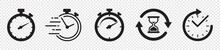 Timers Icon Set On Transparent Background. Stopwatch Symbol. Countdown Timer Vector Illustration
