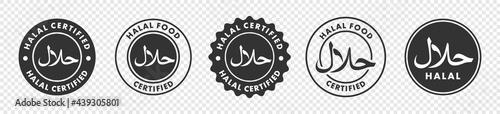 Photo halal icon set, halal label, arabic product emblem, vector illustration