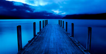 Tranquil Lake With Jetty, Nelson Lakes, New Zealand South Island.
