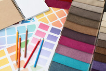 Upholstery Fabric Samples, Pencils And Color Palette