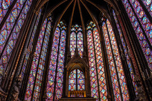 Interiors Of An Old Church With Stained Glass Windows