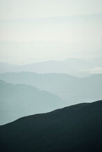 Misty View Of Helvellyn Range At The Lake District In England