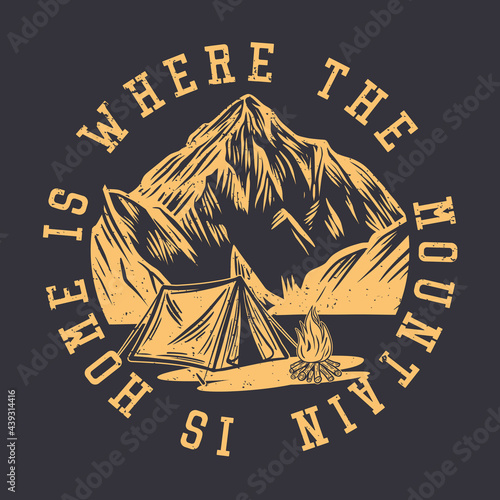 Canvas-taulu logo design is where the mountain is home with mountain and tent camping night s