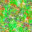 Leinwandbild Motiv Watercolor leaves of a tree, palms, bamboo, tansy, immortelle. abstract splash. Watercolor abstract seamless background, pattern, spot, splash of paint, branch with berry.Tropic pattern