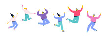 Happy People Jumping With Raising Hands. Party, Celebration