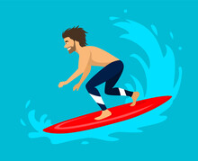 Man Surfer Riding On A Wave. Surfing Water Sport Activity Vector Illustration