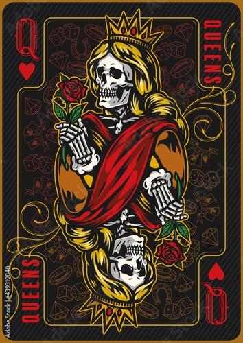 Carta da parati Queen of hearts poker card template