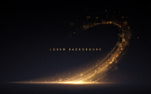 Abstract Gold Light Effect On Black Background