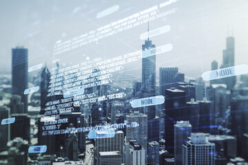 Abstract virtual coding concept on Chicago skyline background. Multiexposure
