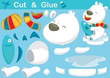 Funny Polar Bear Cartoon Wearing Scarf While Holding Fish. Education Paper Game For Children. Cutout And Gluing