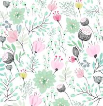 Vector Patrón Floral Tonos Verdes Hojas Y Flores Primavera Dibujado A Mano  Vector Floral Pattern Green Tones Leaves And Flowers Hand Drawn Spring