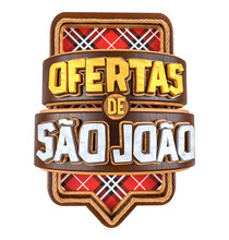 Label For Brazilian June Party. The Name Ofertas De Sao Joao Means Saint John Offers. The Label Has A Checkered Background And A Down Arrow. Label Isolated On White Background. 3D Illustration.