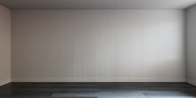 Interior Wall. Empty White Room Background With A Grey Wood Floor. 3D Render.