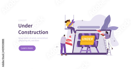 People characters developing web site. Developers team solving errors and bugs. Website maintenance process and under construction concept page. Flat cartoon vector illustration.