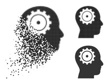 Disintegrating Pixelated Intellect Icon With Wind Effect, And Halftone Vector Symbol. Pixelated Disintegrating Effect For Intellect Reproduces Speed And Motion Of Cyberspace Concepts.