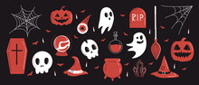 Set Of Isolated Elements For The Holiday Halloween. Ghosts, Skulls And Hats Stylized In A Flat Style. Vector
