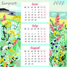 Calendar For  Summer Months 2022 With Flowers