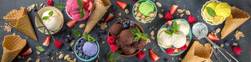 Various colorful ice cream balls