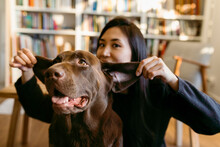 Female East Asian Woman And Her Labrador Dog At Home