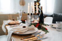 Table Decoration Before Christmas Dinner