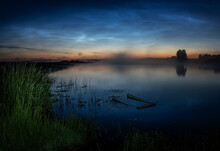 Morning Landscape With Fog On The Bank Of The Ural River, Russia