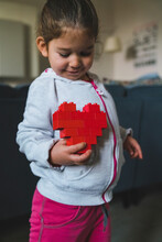 Kid Built A Red Heart With Blocks Toys