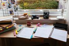 Workspace Of School Kid Near Window